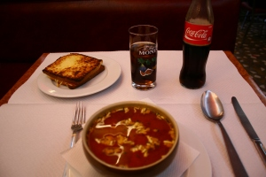 Croque Monsieur, Tomato Soup, Coke.